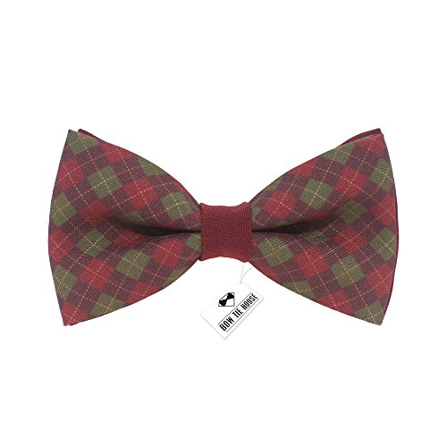 Bow Tie House Plaid pattern bow tie unisex cell pre-tied red color