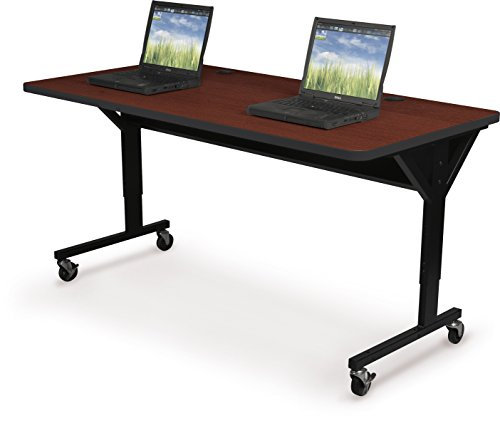 Balt Brawny Adjustable Height Mobile Training & Maker Space Table, 72''W x 30''D, Mahogany (58065-7122-BK) by Balt