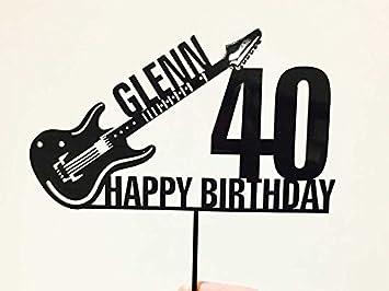 Decoración para tarta personalizable con nombre y guitarra eléctrica, acrílico para tarta de cumpleaños: Amazon.es: Hogar