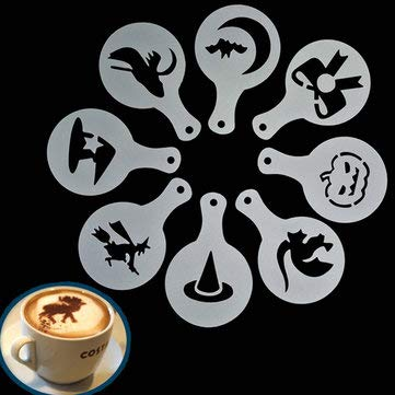 8Pcs Halloween Cappuccino Latte Coffee Stencils Duster Cake Icing Spray - Coffee & Tea Making Tools Coffee Tampers - 1 Set x 8Pcs Halloween Cappuccino Latte Art Coffee Stencils ()