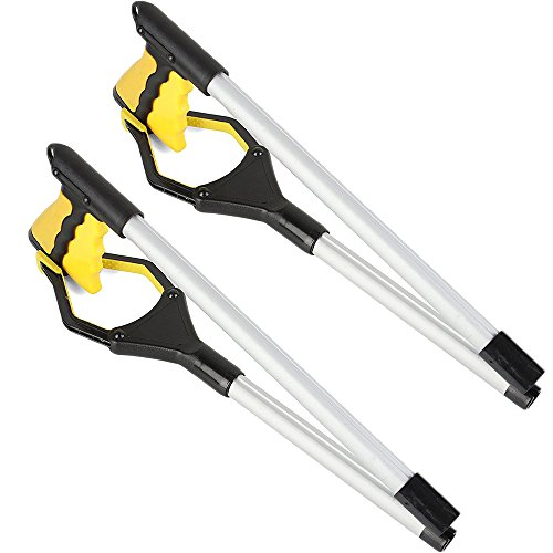 Foldable Extender Gripper Tool 32'', 2 Packs, Upgraded version Reacher Grabber Pick Up Tool Long Arm Reaching Claw (2 Pcs) (Yellow+Yellow) by ENINE (Image #7)