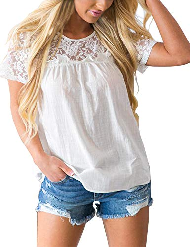 Blooming Jelly Women's Round Neck Short Sleeve Lace Top Ruffle Chiffon Blouse Casual Loose Shirt(White, L)