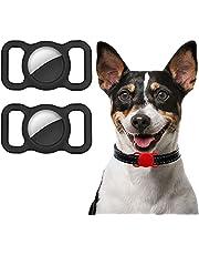 Ztowoto Siliconen hoes compatibel met AirTag Pet Collar, AirTag Beschermhoes voor Hond Kat Halsband 2 STKS (2-zwart)