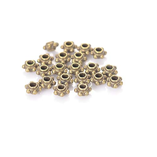 6MM Antique Silver Color Plating Tibet Style Metal Cast Spacer Beads for DIY Jewelry Making Accessories - (Color: Army Green) ()