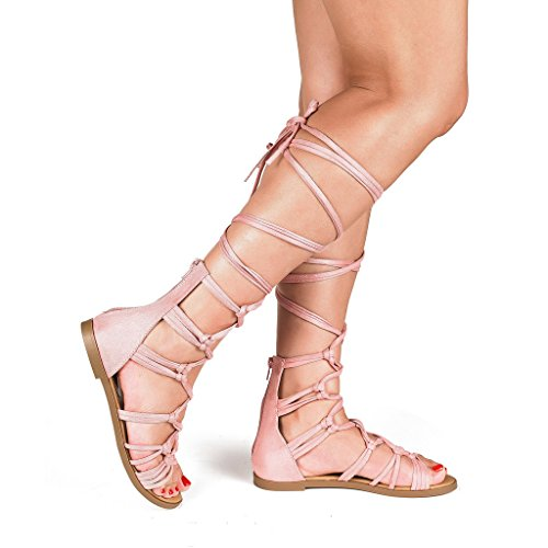 Dream Pairs Women's RAIL Pink Knee High Gladiator Flat Sandals - 7.5 M (Greek Goddess Shoes)
