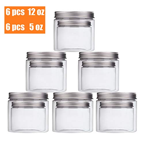 55d2995a3141 Aitsite 12 Packs Clear Plastic Containers with Silver Metal Lids (6pc 12oz  + 6pc 5oz) BPA Free PET Food Safe Stackable Transparent Storage Container  ...