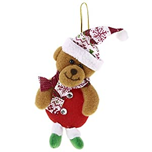 christmas tree santa snowman elk bear doll hanging decorations and ornaments for festival party christmas day bear - Bear Christmas Decorations