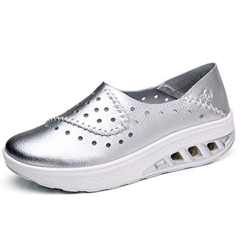 GilesJones Wedge Loafers Shoes Women,Casual Moccasins Hollow Sneakers Slip-On Ballet Flats Shoes silver