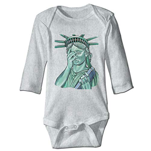 Baby Long Sleeve Bodysuit Funny Statue of Liberty Snap Closure Toddler Baby Girls Boys Layette Romper Outfits Gray ()