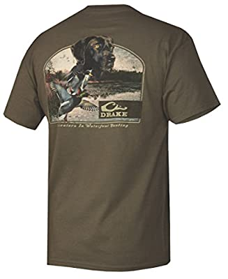 Drake Waterfowl Lab & Ducks Short Sleeve T-Shirt Military Green