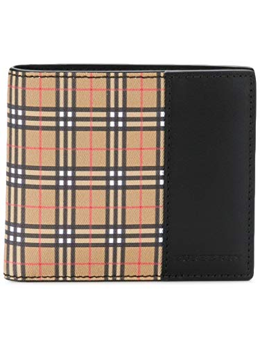 - Burberry Men's Vintage Check Bifold Wallet with Leather Trim