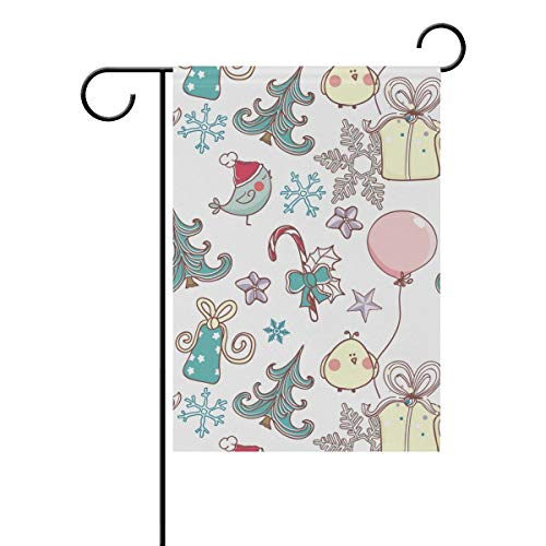 (Chic Houses Garden Flag Cartoon Pattern Bird Candy Cane Christmas Tree Double-Sided Yard Flag Festive Atmosphere Polyester, Flag to Brighten Up Your Home 28 x 40 Inch 2030635 )