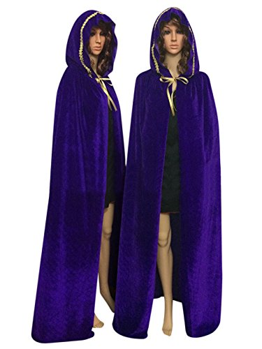 Cloak with Hood Costume Hooded Cape Crushed Velvet For Men Women (43 - 66inches) Purple with Golden (Adult Purple Hooded Robe Costume)