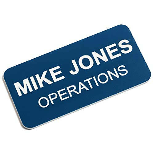 Custom Engraved Name Tag Badges - Personalized Identification with Pin or Magnetic Backing, 1.5 Inches x 3 Inches, Blue/White