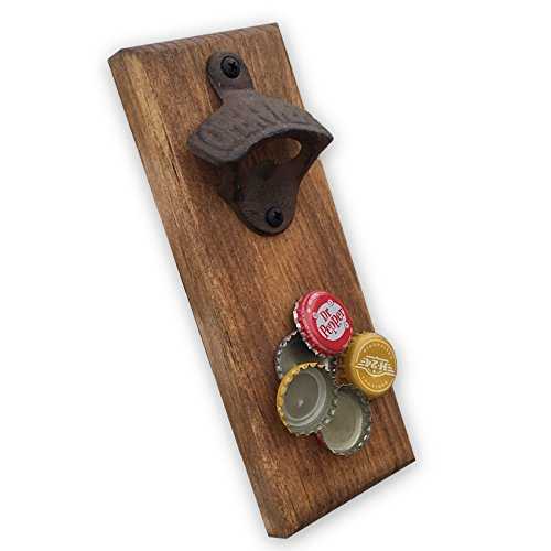 Magnetic Bottle Opener. Wooden and Handcrafted. Wall Mounted