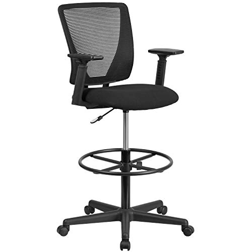 Flash Furniture Ergonomic Mid-Back Mesh Drafting Chair with Black Fabric Seat, Adjustable Foot Ring and Adjustable Arms