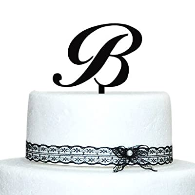 Personalized Monogram Initial Cake Topper - Wedding Cake Topper - Custom Initial Cake Topper Letter B cake topper