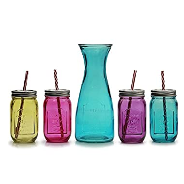 Circleware Mulit-Colored Glass Mason Jars and Pitcher Set, 1 Carafe 38 Ounce, 4 Mason Jars with Metal Lids and Strong Reusable Plastic Straws 16 Ounce Each, Set of 9