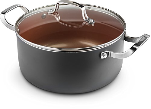 Ceramic & Titanium Non-Stick Saucepan - 10 inch Dishwasher & Oven Safe Non-Scratch Cookware with Induction Plate - By CM