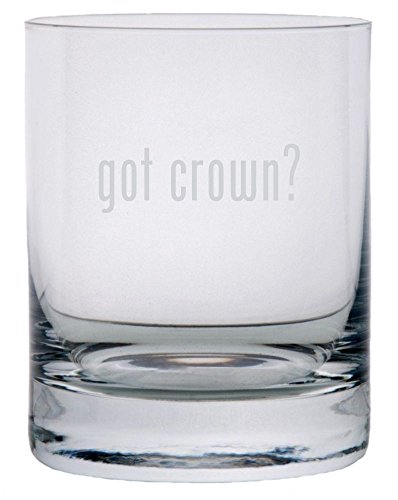 got crown? Etched 11oz Stolzle New York Crystal Rocks Glass ()