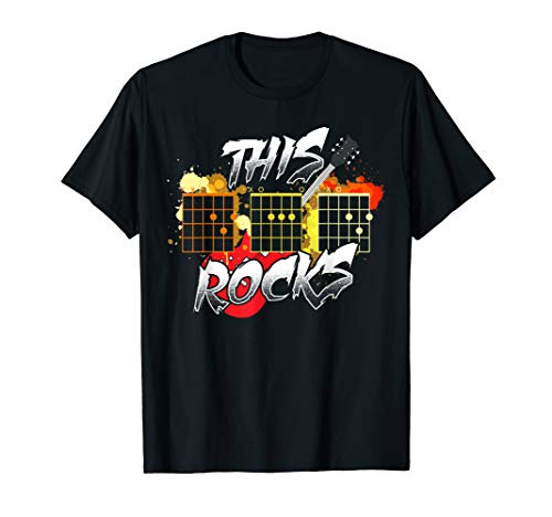 Mens Acoustic Guitar Chord Rocks Music Gift For Dads Funny T-Shirt