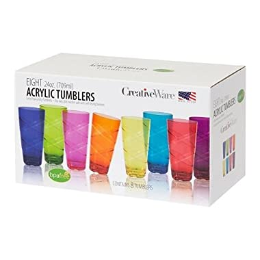 Heavy-duty Set of 8 24-Ounce Multi-Colored Tumbler Set, Assorted