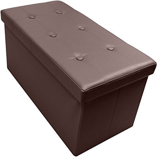Bench Chocolate - Sorbus Storage Bench Chest - Collapsible/Folding Bench Ottoman with Cover - Perfect Hope Chest, Pouffe Ottoman, Coffee Table, Seat, Foot Rest, and More - Contemporary Faux Leather (Chocolate)