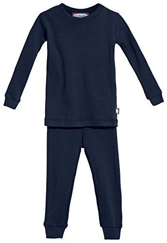 City Threads Certified Organic Thermal Pajama Set, Little Boys and Girls for Sensitive Skin/SPD/Sensory Friendly, Navy, 3T