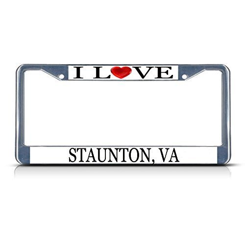 Cukudy Car Auto Tag Holder Chrome I Love Heart Staunton Va Aluminum Metal License Plate Frame Silver