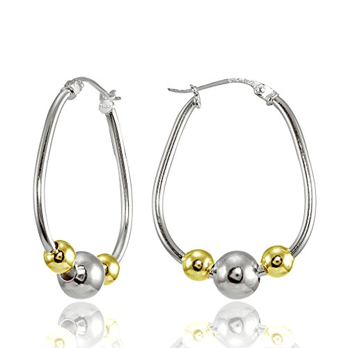 Sterling Silver Two-Tone Yellow Polished Beaded 18mm Hoop Earrings Beaded Silver Tone Earrings