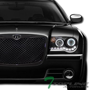 Chrysler Srt (Topline Autopart Black Mesh Front Hood Bumper Grill Grille ABS For 04/05-10 Chrysler 300 / 300C / 300 Touring/Limited/SRT-8)