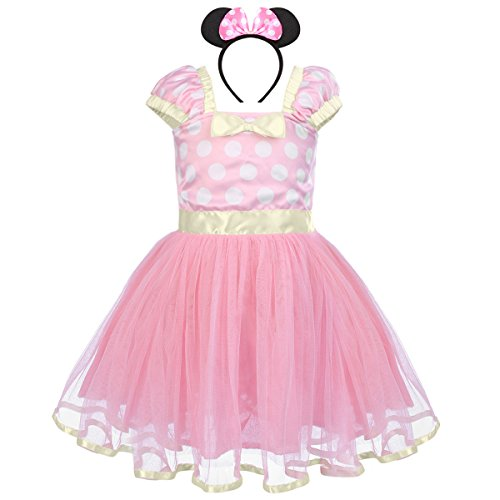 Toddler Girl Princess Polka Dots Christmas Birthday Costume Bowknot Ballet Leotard Tutu Dress Up+3D Mouse Ear Headband -