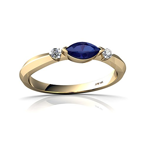 14kt Yellow Gold Lab Sapphire and Diamond 6x3mm Marquise Art Deco Ring - Size 8.5 (Gold Solid 14kt Yellow Marquise)