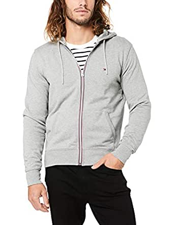 TOMMY HILFIGER Men's Cotton Full-Zip Hoodie, Heather Cloud, X-Small