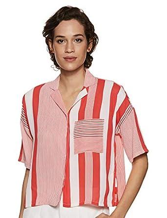 ABOF Women's Striped Regular fit Shirt