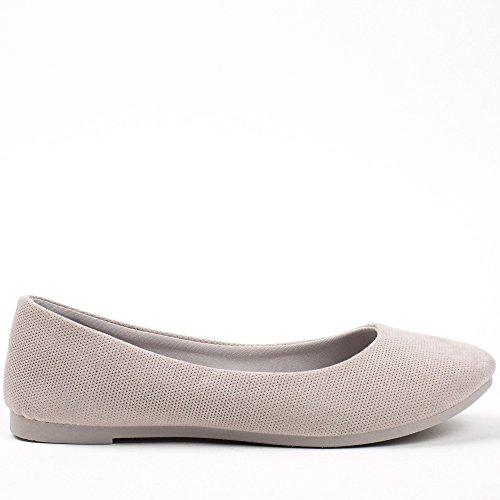 Ideal Shoes, Damen Ballerinas Grau