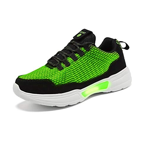 Idea Frames Fiber Optic LED Light Up Shoes for Women Men USB Charging Fashion Sneaker Green]()