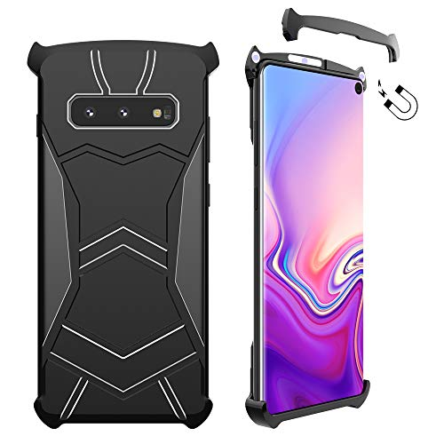 Galaxy S10E Case, LIGHTDESIRE Magnetic Installation Absorption Protective Corner Anti-Scratch Aluminum Hard Back Metal Slim Cover for Samsung Galaxy S10 E case (Metallic Black)