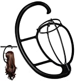 2 Pack Dreamlover Wig Hanger, Portable Hanging Wig Stand for All Wigs and Hats, Collapsible Wig Dryer, Durable Wig Stand Tool Holder, Hat and Cap Holder (Black)