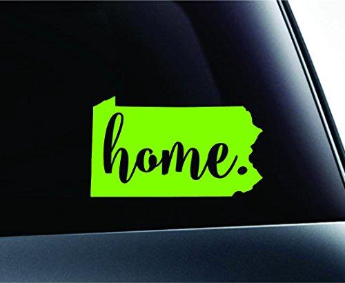 #3 Home Pennsylvania State Harrisburg Symbol Sticker Decal Car Truck Window Computer Laptop (Lime Green)