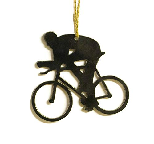 Oregardenworks Cyclist Bicycle Metal Christmas Tree Ornament Holiday Decoration Raw Steel Gift Recycled Nature Home Decor (Holiday Bicycle Ornament)