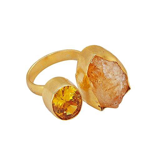 22k Gold Vermeil Rough Citrine November Birthstone Adjustable Ring For Ladies