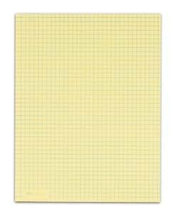 TOPS Quadrille Pad, Gum-Top, 8-1/2 x 11 Inches, Quad Rule (4 x 4), Canary Paper, 50 Sheets per Pad, 12 Pads per Pack (3313)