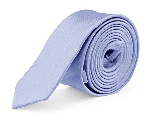 Narrow Ties Blue Silk (Ties For Mens Skinny Slim Silk Finish Fashion Long Necktie - Solid Color MDR - Powder Blue)