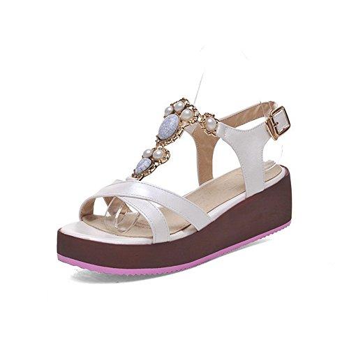 BalaMasa Girls Romanesque Style Rhinestones Soft Material Sandals White 2GZhyIrQ55