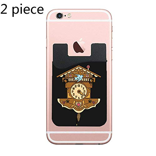 CardlyPhCardH Cuckoo Clock Adhesive Silicone Cell Phone Wallet/Card Holder for iPhone, Android, Samsung Galaxy, Most Smartphones - 2 Piece