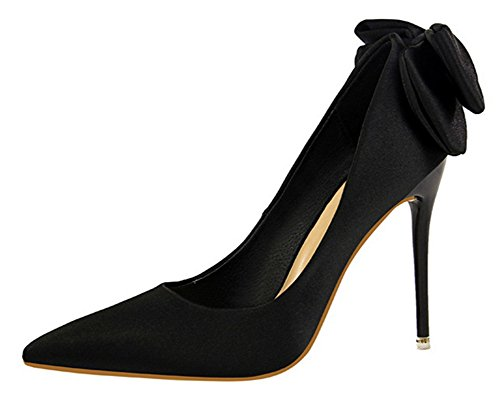 Aisun Women's Elegant Dressy Low Cut Stiletto High Heel Pointed Toe Party Bridal Slip On Pumps Shoes with Bow (Black, 5.5 B(M) US) -