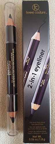 FEMME COUTURE 2 IN 1 EYELINER THIN PRECISION & THICK DRAMA BLACK EYE PENCIL DUO -