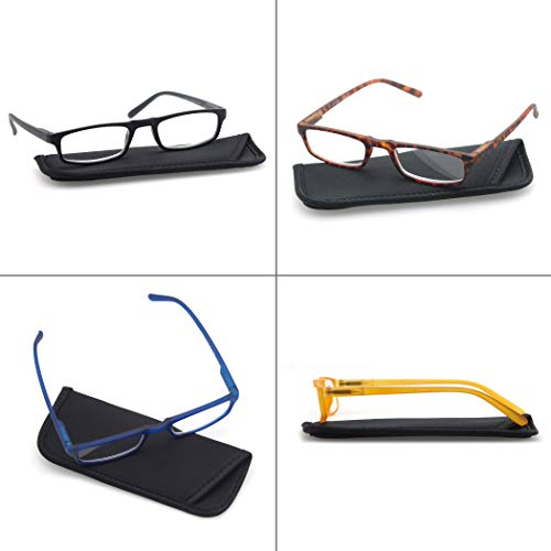 MODFANS Reading Glasses +2.0 - 4 Pairs Fashion Readers Narrow Frame Spring Hinge for Men Women