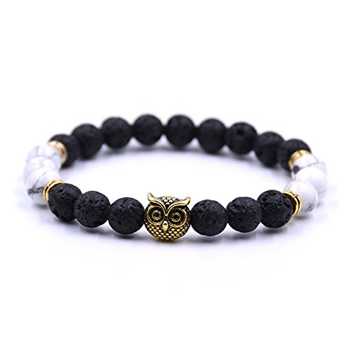 Joya Gift Womens Mens Beaded Owl Bracelets Chakra Bracelets,Black White Bracelts for Girlfriend and (Round Friendship Bracelets)